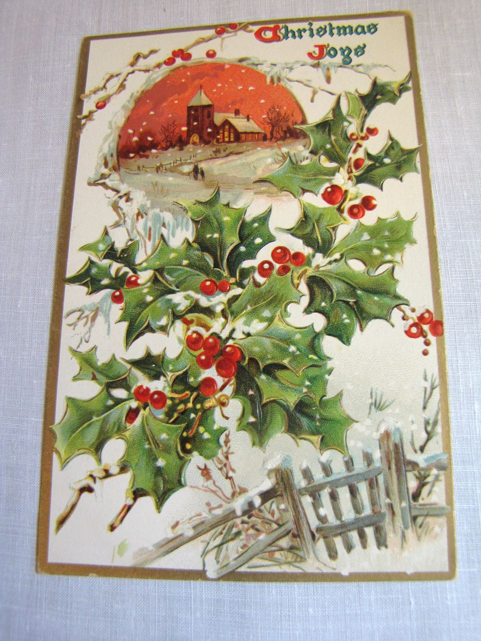 "circa 1900‏, ""Christmas Joys"" Tuck Embossed Post Card No. 100"