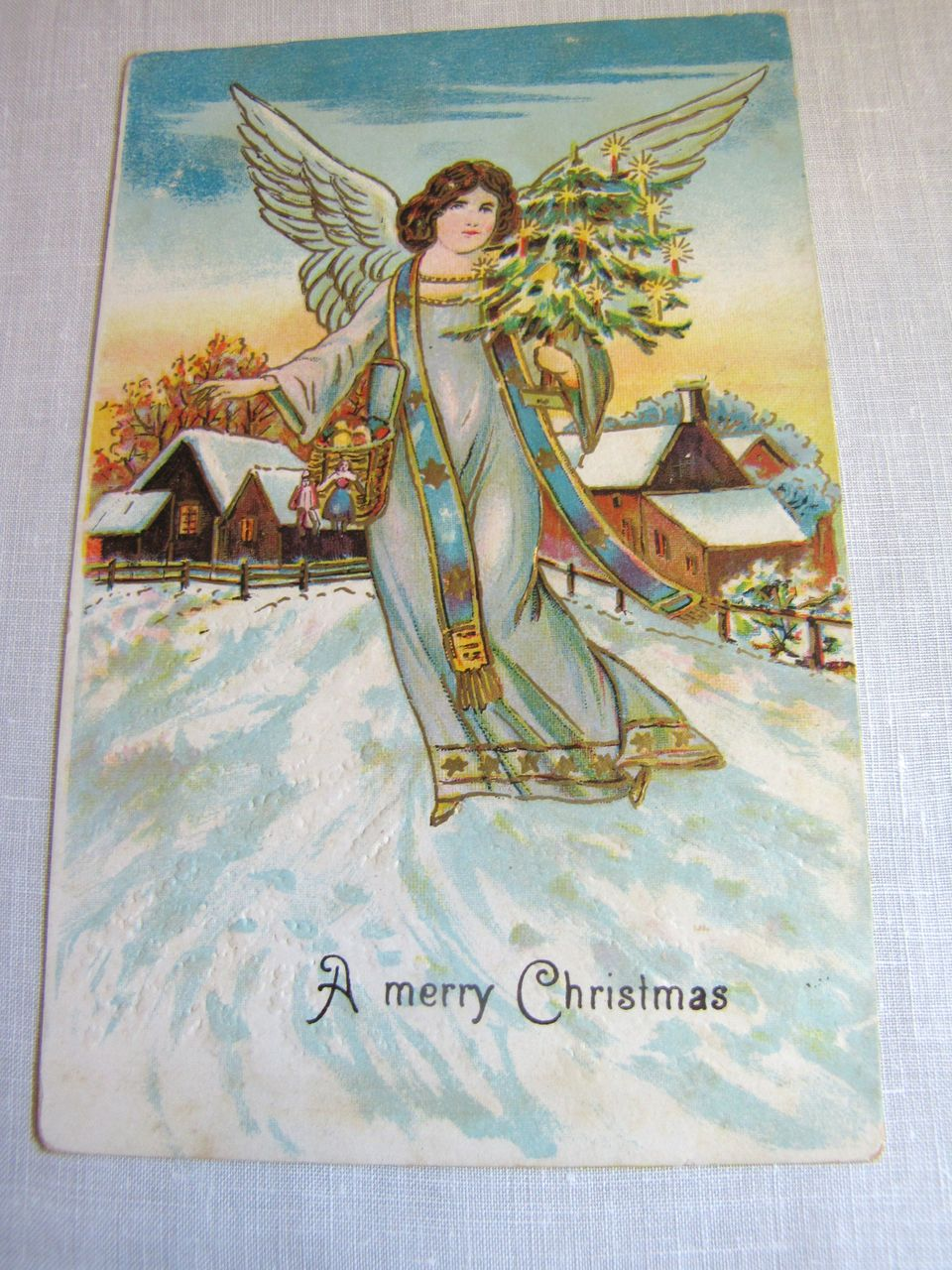"circa 1900‏, ""A Merry Christmas"" Made in Germany serie 76 78 Embossed Post Card"