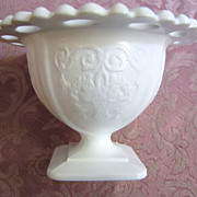 Lovely Indiana Lorain Basket Pattern Milk Glass Sherbert or Compote