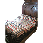 Stunning Antique Hand Stitched Calico Quilt