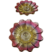 Lovely Pair of  Cranberry Luster Candle Holders, Pristine and Pretty!