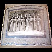Stunning Circa 1940's Formal Deco Wedding Portrait, Lovely Costumes