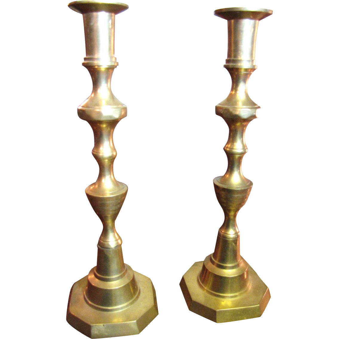 Sturdy and Festive Cast Brass Vintage Candlesticks