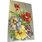 """Birthday Greetings"" Blank Card. Lovely flowers circa 1920s"