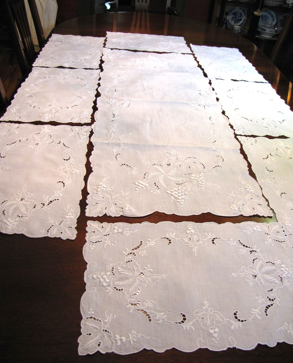 Exquisite Hand Embroidered Table Runner & 8 Placemats,Puffed Satin Stitch, Drawn Threadwork!