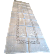 Lovely Long Early Vintage Batiste Linen Embroidered Table Runner