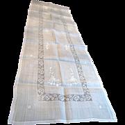 Lovely Long Early Vintage Batiste Linen Embroidered Table Runner