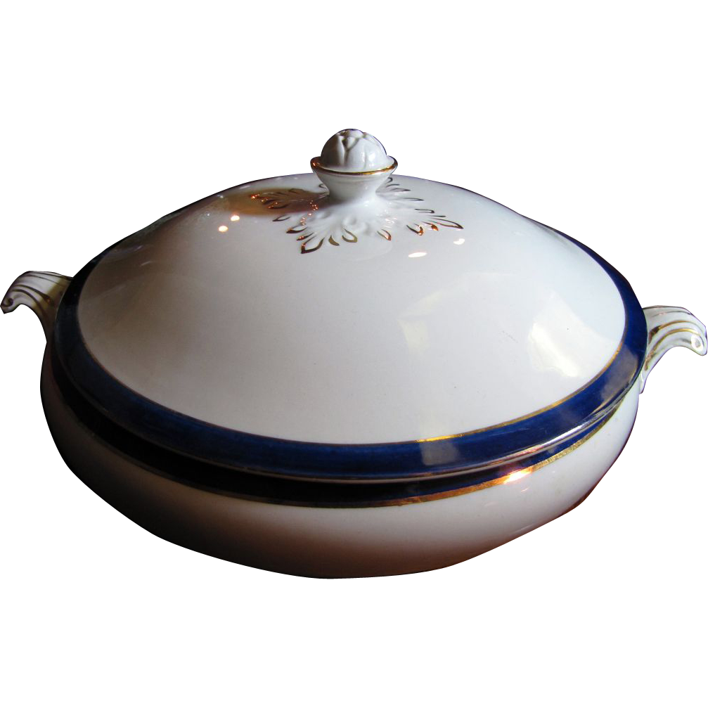 Beautiful English 1920's Blue and White Gilt Large Tureen No 3