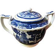 Nice 1940's Japan Blue Willow Sugar Bowl With Lid