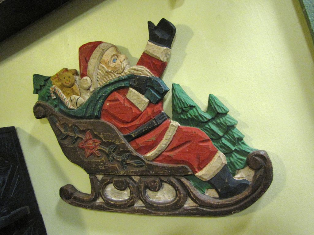 Great Fun Carved Wooden Santa on Sleigh Plaque