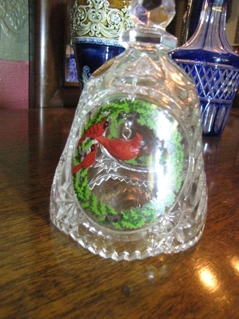 Pretty ArtMark German Lead Crystal Christmas Bell with Cardinal Bird Ringer