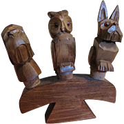 1950's, 3 Hand Carved Vintage Wooden Anri Figural Animal Bottle Stoppers