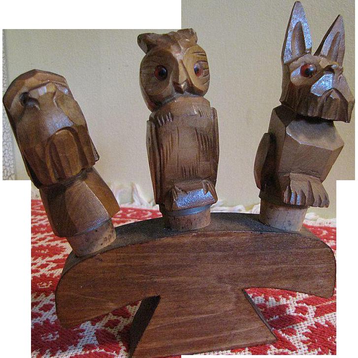 1950's, 3 Hand Carved Vintage Wooden Anri Figural Animal Bottle Stoppers