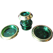 Unique Set of Green Glass and Gilt Metal Art Deco Period Cigarette Holder with Two Ashtrays