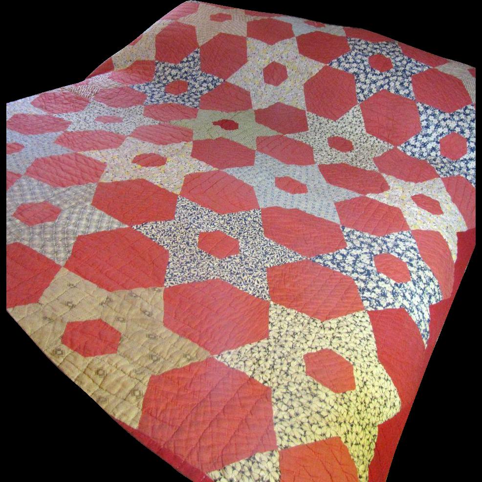 Hand Stitched Antique Calico Quilt, Warm Rich Colors!
