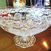 Extravagant and Impressive Cut and Pressed Lead Crystal Oval Centerpiece Bowl