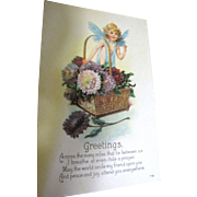"""""""Greetings Across the Many Miles ..."""" USA Early 20thC with Sweet Garden Fairy"""
