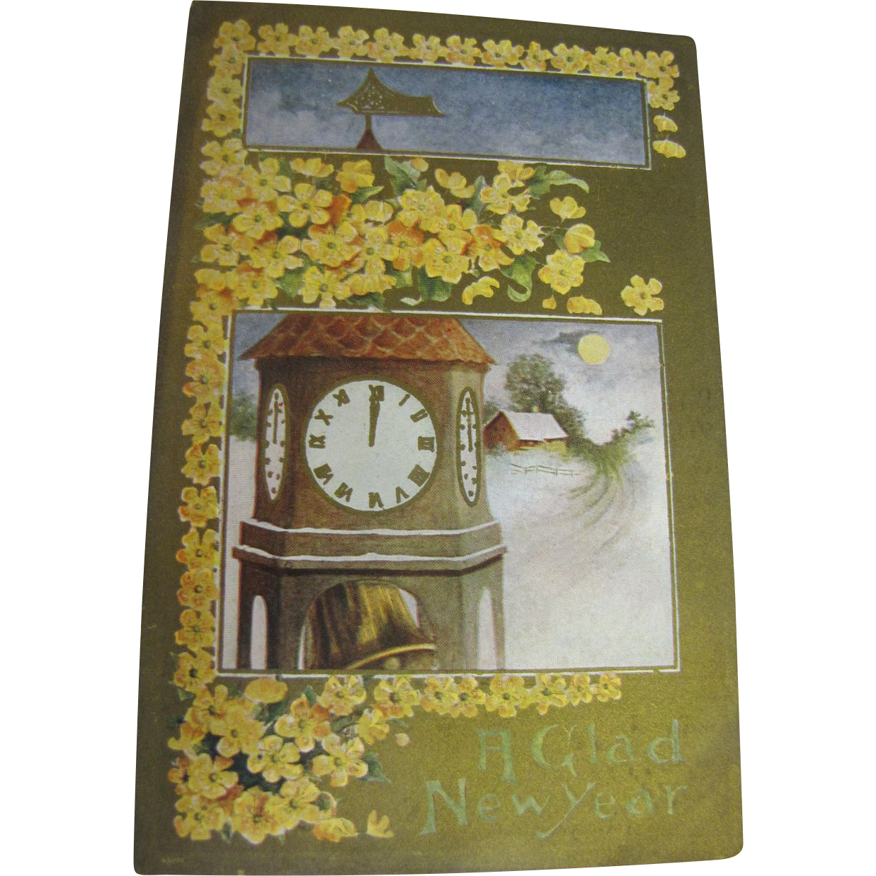 """A Glad New Year"" Postcard Early 20th Century‏"