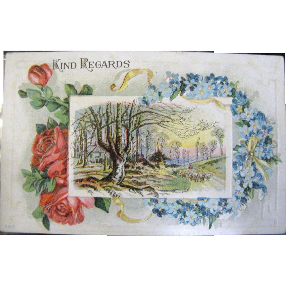 "1910 ""Kind Regards"" Embossed Postcard"