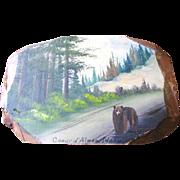 Super Fun Circa 1950's Tourist Plaque of Bear in the Coeur D'Alene, Idaho