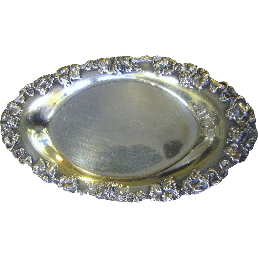 Antique Sheffield Silver On Copper Oval Bowl with Grape Border