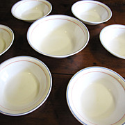 "Nice Set of Six 7""  Bowls + Serving Bowl, Corning Country Cornflower"