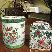 Nice Pair of Vintage Daher Tin Tea Caddies, Great for Storage!