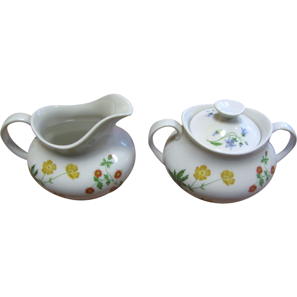 Lovely Creamer & Lidded Sugar in the Doulton Springtime Pattern