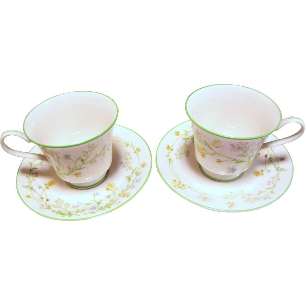 Two Noritake Cup and Saucers Sets in the Reverie Pattern