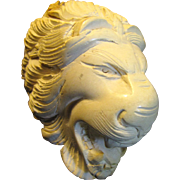 Vintage Meerschaum Pipe‏ Large Hand Carved Lion Head