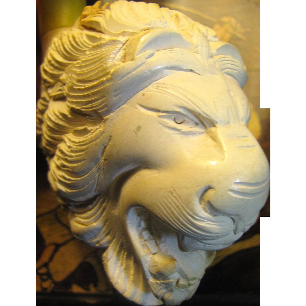 Vintage Meerschaum Pipe Large Hand Carved Lion Head