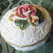 Very Pretty Rose Crowned Ceramic Trinket Box, Embossed White