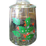 Lovely Vintage Holly & Berries Glass Cookie Jar by Indiana Glass - Red Tag Sale Item