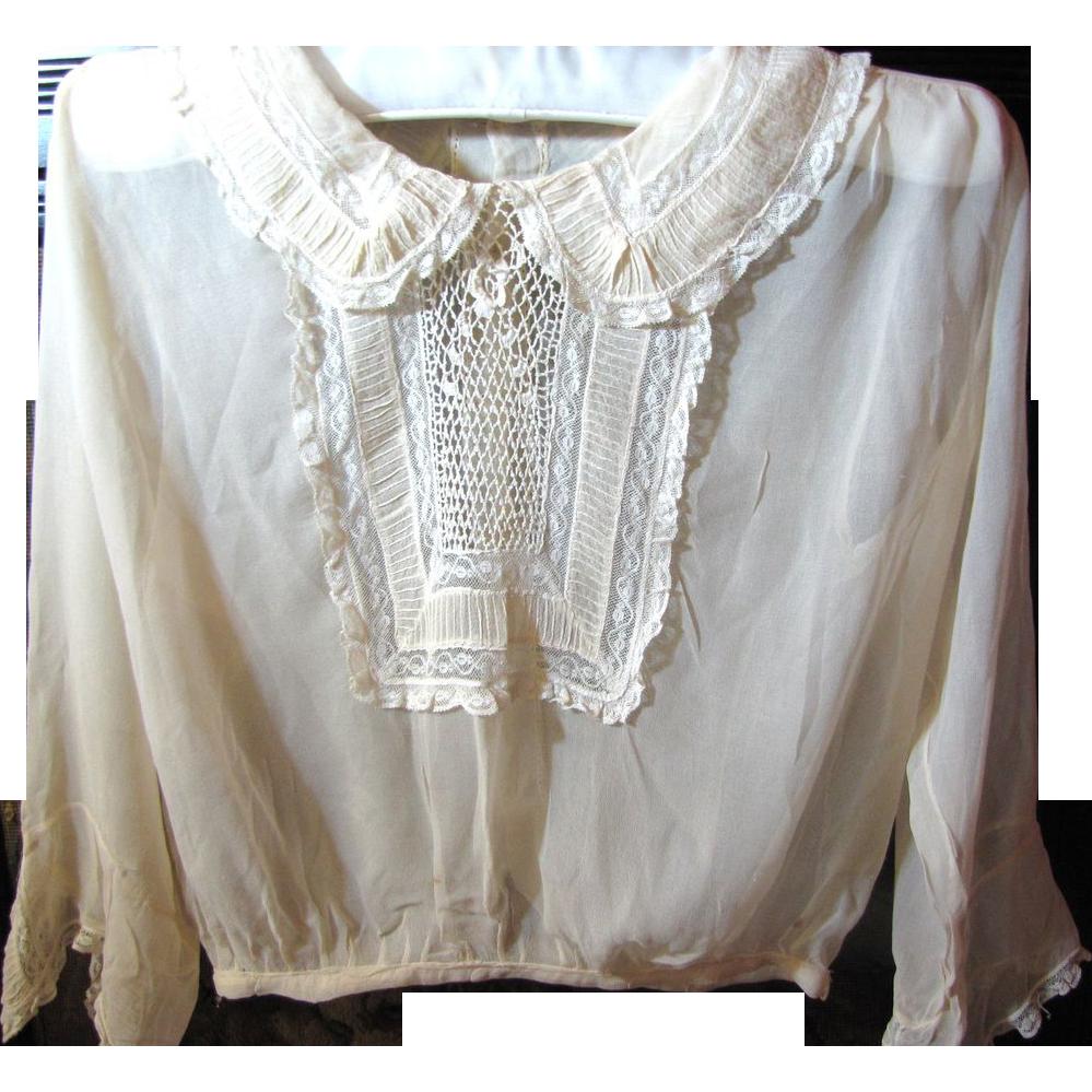 Gossamer Fine Victorian Silk Chiffon  Blouse with Lace Insert