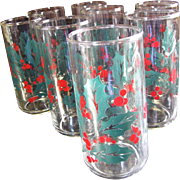 Great Set of 8 Holly Pattern Tall Tumblers by Indiana Glass