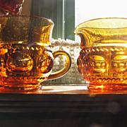 Amber Indiana Glass Kings Crown Thumbprint Sugar and Creamer