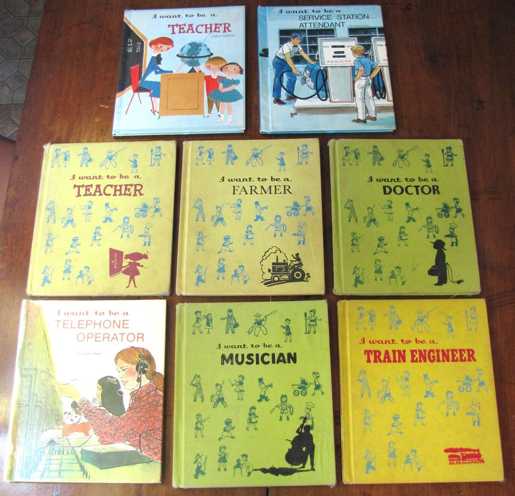 Eight Children's Books, I Want To Be a (Doctor, Farmer, Teacher, Service Station Attendant, Train Engineer, Musician & Telephone Operator)‏