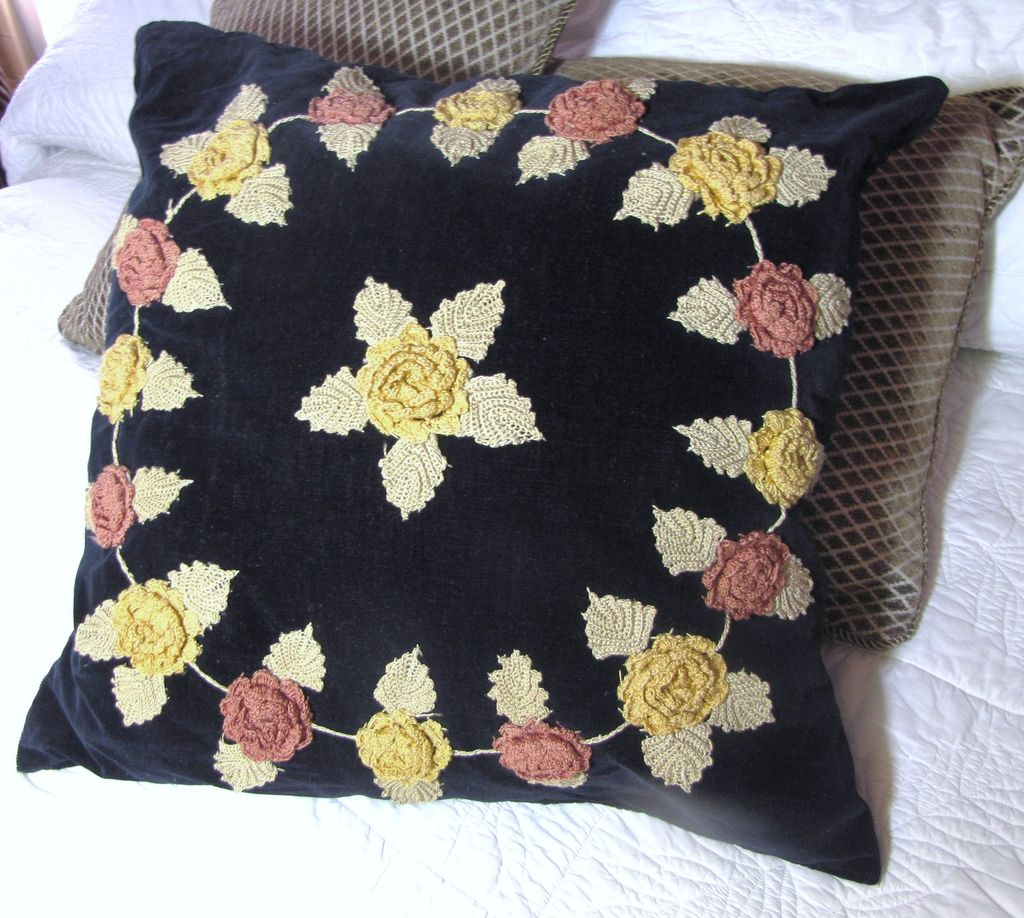 "Harris - Large 19"" Shabby Chic Vintage Velvet & Crochet Flowers Pillow"