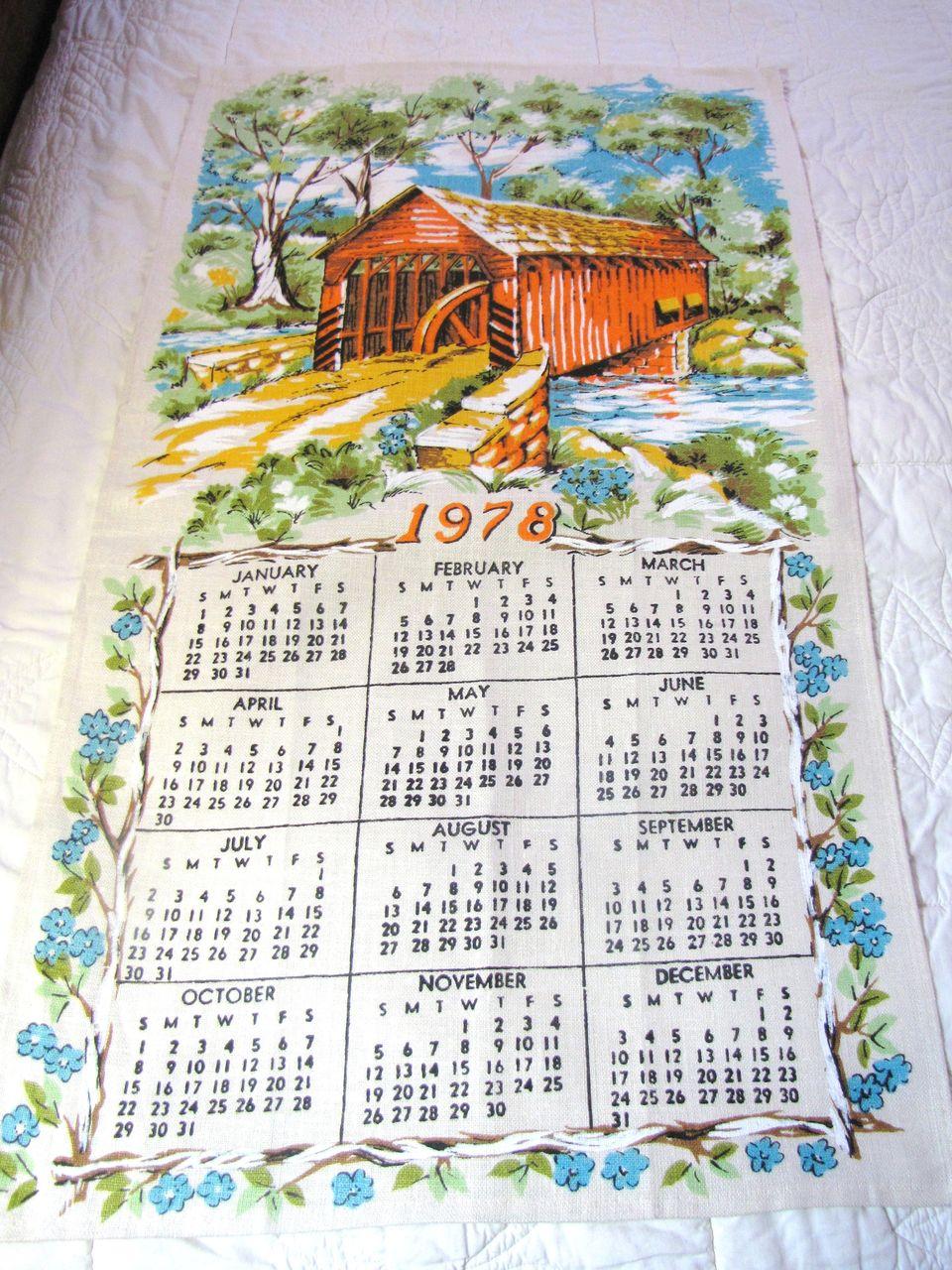 Nice Vintage Covered Bridge Pure Linen Calendar Tea Towel