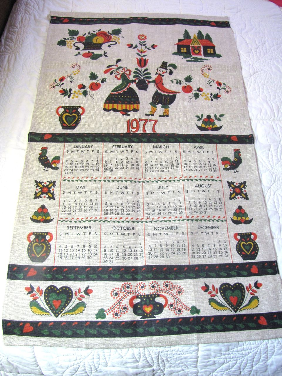 Nice Vintage Folk Art  Pure Linen Calendar Tea Towel