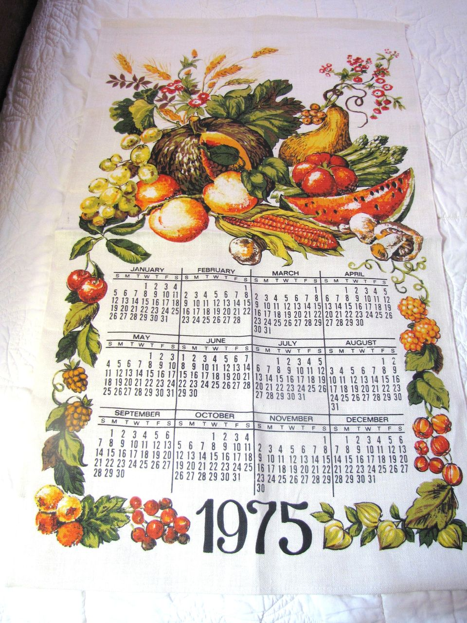 Nice Vintage Fall Vegetable Pure Linen Tea Towel