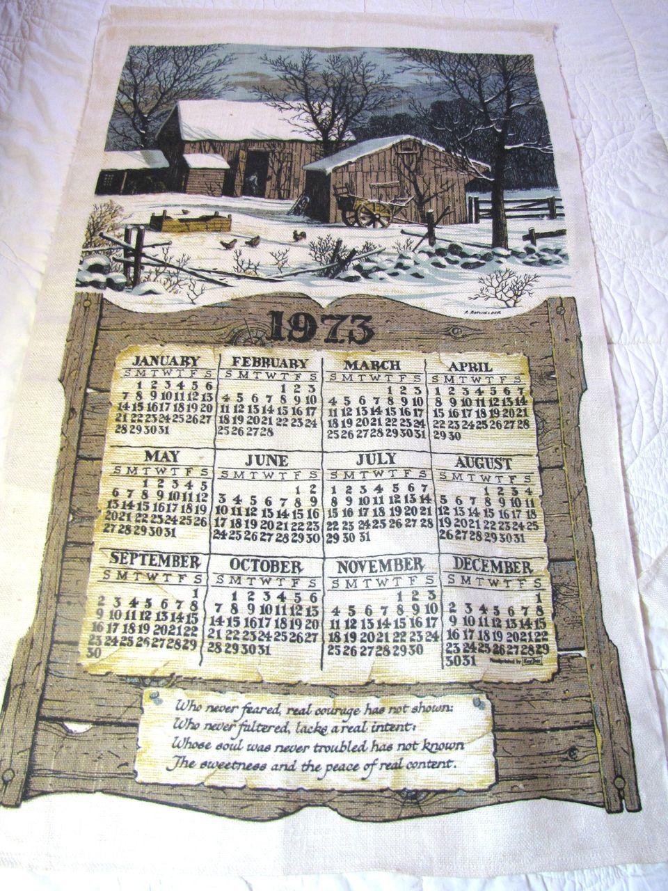 Nice Vintage Barns in the Snow Pure Linen Tea Towel