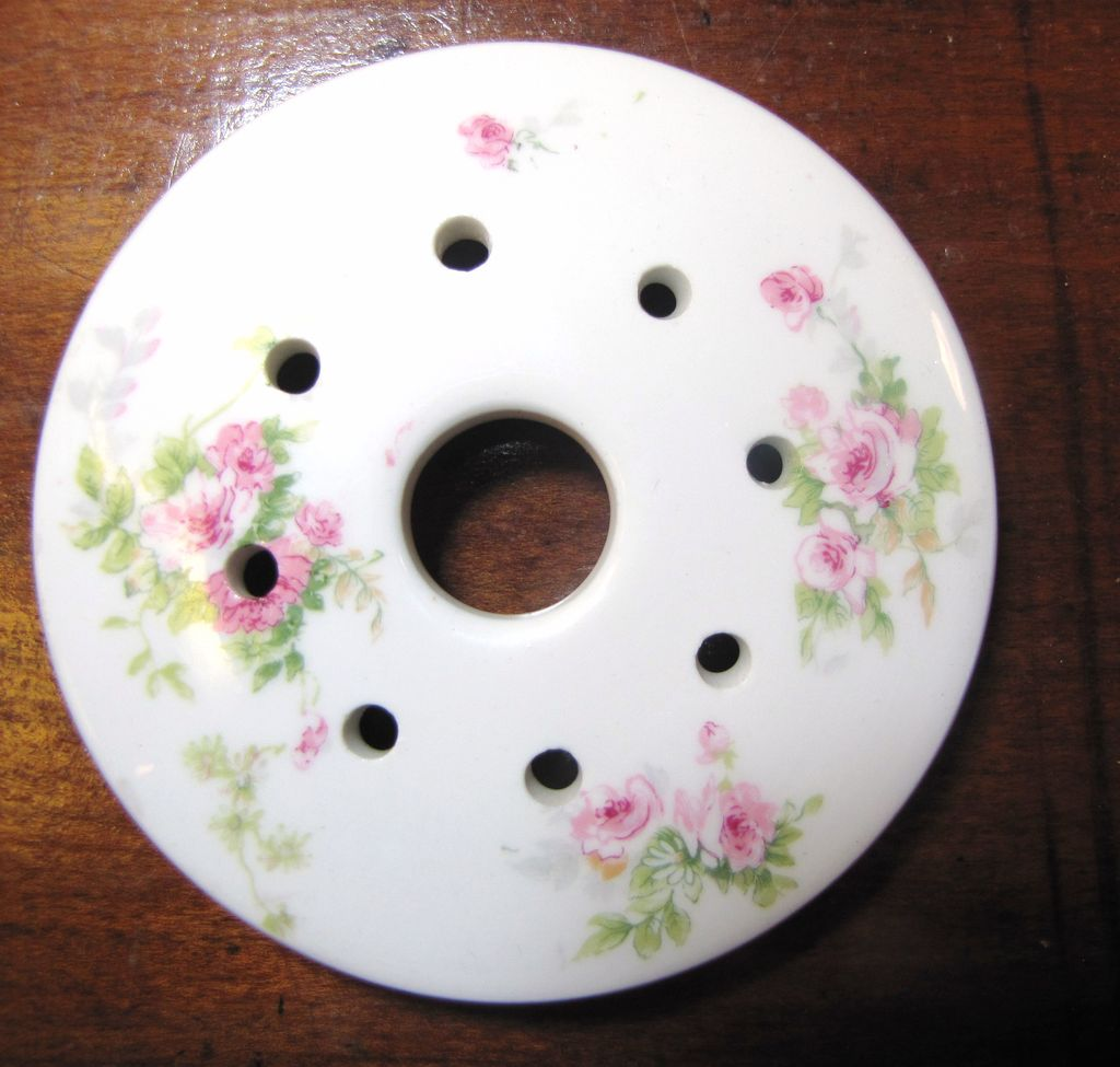 Pretty Pink Floral  Porcelain Butter Dish Insert