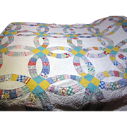 Circa 1930's Hand Stitched Wedding Band Quilt, Lovely Retro Fabrics!