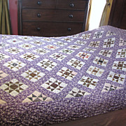 Stunning Antique Hand Stitched Calico Quilt, Lovely Fabrics!