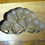 Beautiful Hand Carved Antique 2 Part Walnut Wooden Kashigata Mold, Pinecone Design