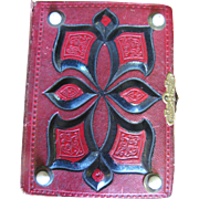 Small Victorian Photo Album with Red Leather Binding, Porcelain Rests