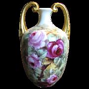 Stunning Vienna Austria Hand Painted Antique Vase, Roses, Gilding