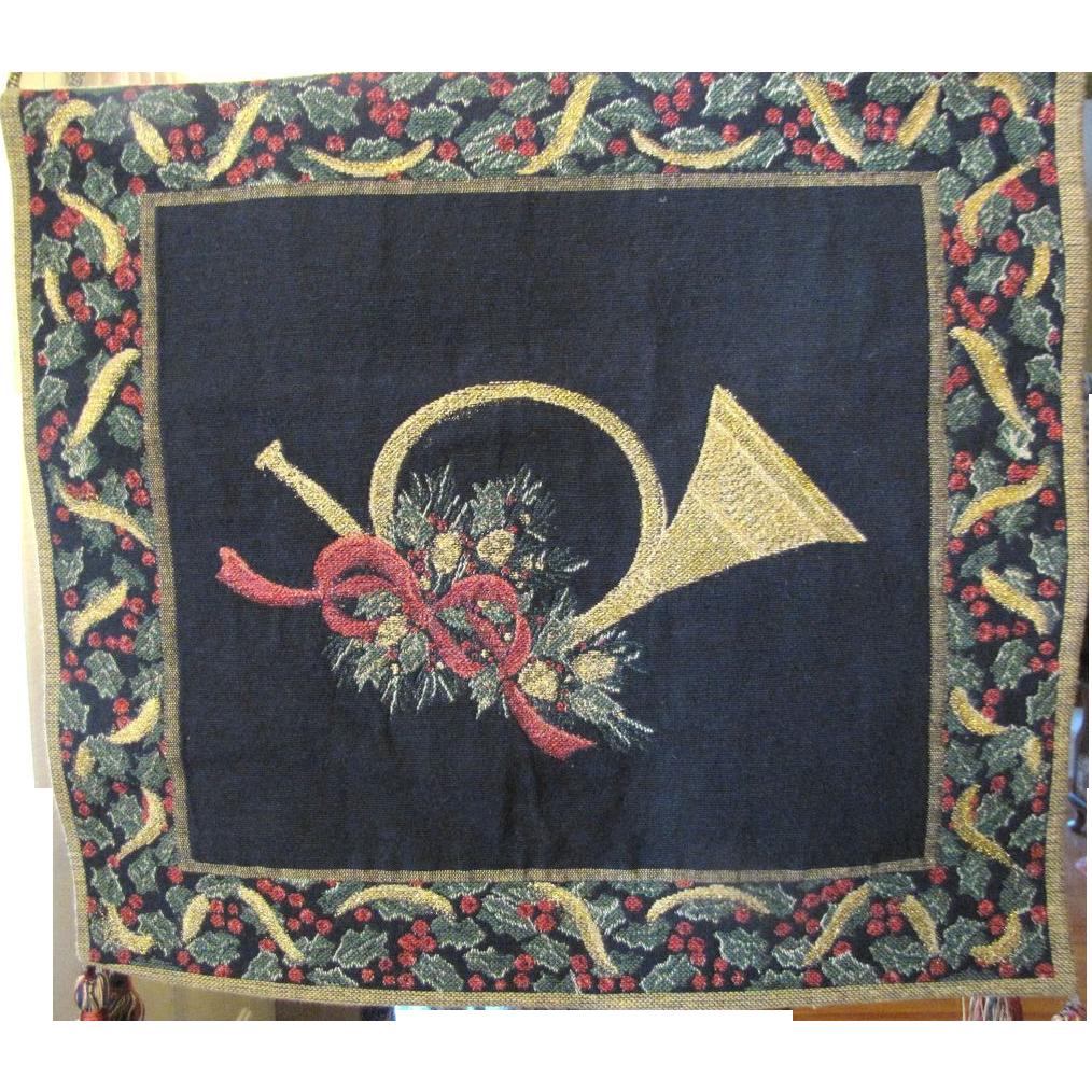 Lovely Vintage Heraldic Christmas Tapestry Banner, Tassels, Gold Weave!