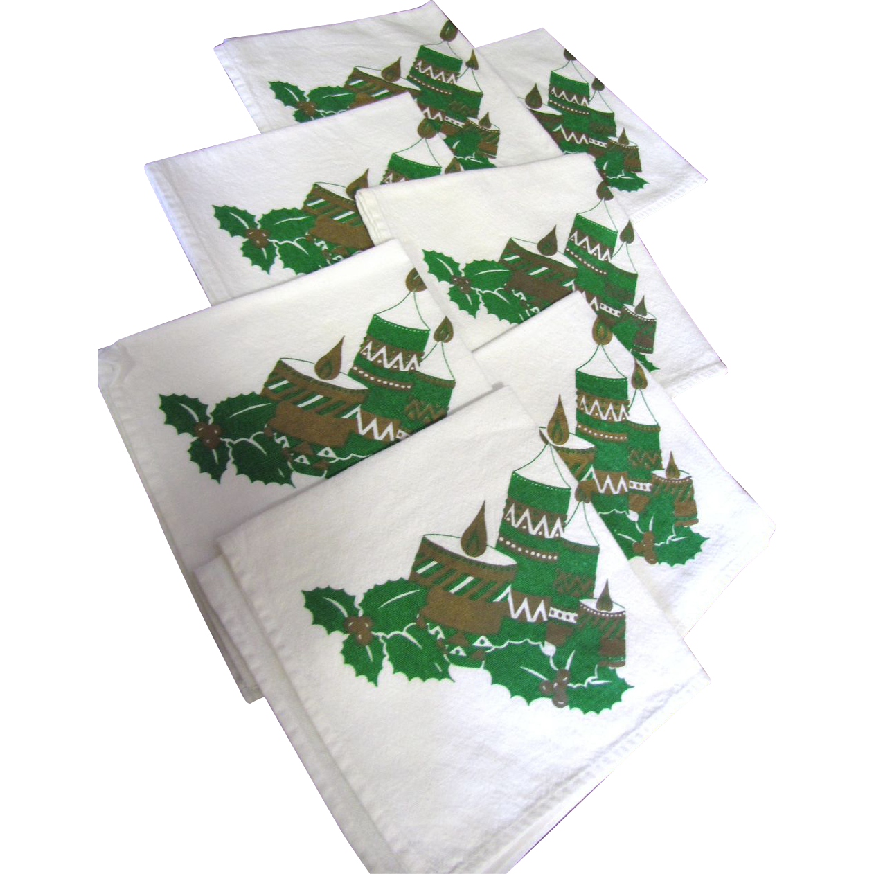 "Nice Set of Seven 14"" Christmas Cotton Napkins"